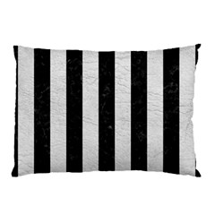 Stripes1 Black Marble & White Leather Pillow Case (two Sides) by trendistuff