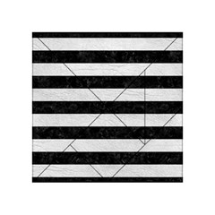 Stripes2 Black Marble & White Leather Acrylic Tangram Puzzle (4  X 4 ) by trendistuff