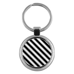 Stripes3 Black Marble & White Leather Key Chains (round)  by trendistuff