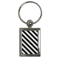 Stripes3 Black Marble & White Leather Key Chains (rectangle)  by trendistuff