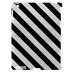 Stripes3 Black Marble & White Leather Apple Ipad 3/4 Hardshell Case (compatible With Smart Cover) by trendistuff