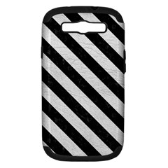 Stripes3 Black Marble & White Leather Samsung Galaxy S Iii Hardshell Case (pc+silicone) by trendistuff