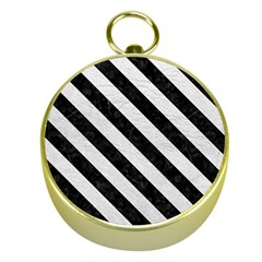 Stripes3 Black Marble & White Leather Gold Compasses by trendistuff