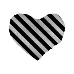 Stripes3 Black Marble & White Leather Standard 16  Premium Flano Heart Shape Cushions by trendistuff