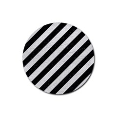 Stripes3 Black Marble & White Leather (r) Rubber Round Coaster (4 Pack)  by trendistuff