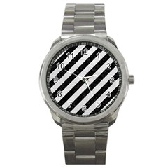Stripes3 Black Marble & White Leather (r) Sport Metal Watch by trendistuff