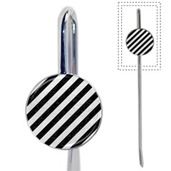 Stripes3 Black Marble & White Leather (r) Book Mark by trendistuff