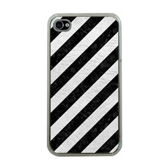 Stripes3 Black Marble & White Leather (r) Apple Iphone 4 Case (clear) by trendistuff