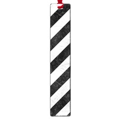 Stripes3 Black Marble & White Leather (r) Large Book Marks by trendistuff