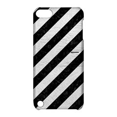 Stripes3 Black Marble & White Leather (r) Apple Ipod Touch 5 Hardshell Case With Stand by trendistuff