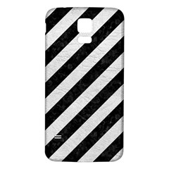 Stripes3 Black Marble & White Leather (r) Samsung Galaxy S5 Back Case (white) by trendistuff