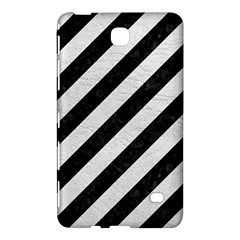 Stripes3 Black Marble & White Leather (r) Samsung Galaxy Tab 4 (8 ) Hardshell Case