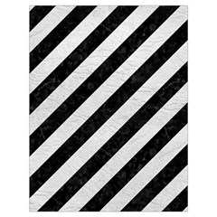 Stripes3 Black Marble & White Leather (r) Drawstring Bag (large) by trendistuff