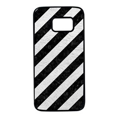 Stripes3 Black Marble & White Leather (r) Samsung Galaxy S7 Black Seamless Case