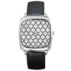 Tile1 Black Marble & White Leather Square Metal Watch