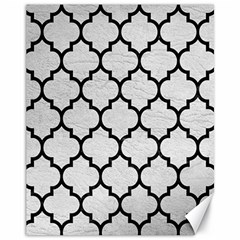 Tile1 Black Marble & White Leather Canvas 11  X 14   by trendistuff