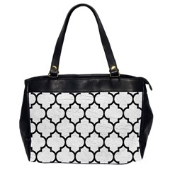 Tile1 Black Marble & White Leather Office Handbags (2 Sides)
