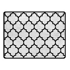 Tile1 Black Marble & White Leather Double Sided Fleece Blanket (small)