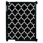 TILE1 BLACK MARBLE & WHITE LEATHER (R) Apple iPad 2 Case (Black) Front