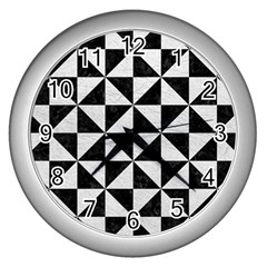 Triangle1 Black Marble & White Leather Wall Clocks (silver)  by trendistuff