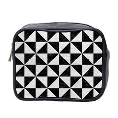 Triangle1 Black Marble & White Leather Mini Toiletries Bag 2 Side by trendistuff