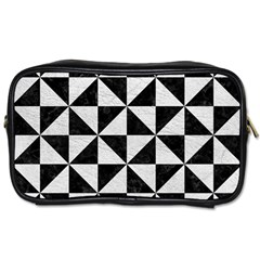 Triangle1 Black Marble & White Leather Toiletries Bags 2 Side by trendistuff