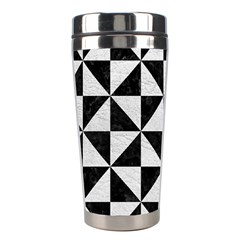 Triangle1 Black Marble & White Leather Stainless Steel Travel Tumblers by trendistuff