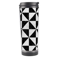 Triangle1 Black Marble & White Leather Travel Tumbler by trendistuff