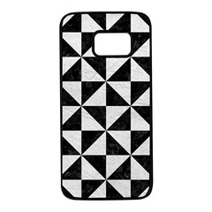 Triangle1 Black Marble & White Leather Samsung Galaxy S7 Black Seamless Case