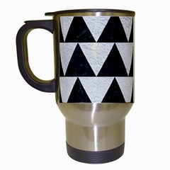 Triangle2 Black Marble & White Leather Travel Mugs (white) by trendistuff