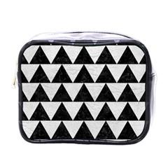 Triangle2 Black Marble & White Leather Mini Toiletries Bags by trendistuff
