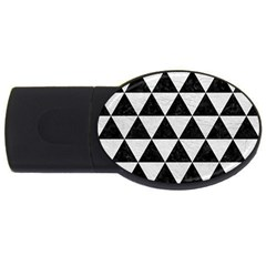 Triangle3 Black Marble & White Leather Usb Flash Drive Oval (4 Gb) by trendistuff
