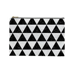 Triangle3 Black Marble & White Leather Cosmetic Bag (large)  by trendistuff