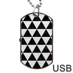 Triangle3 Black Marble & White Leather Dog Tag Usb Flash (one Side) by trendistuff
