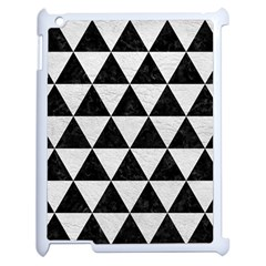 Triangle3 Black Marble & White Leather Apple Ipad 2 Case (white) by trendistuff