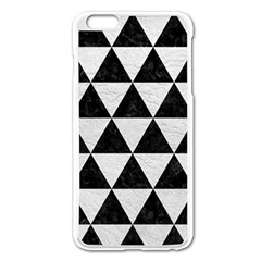 Triangle3 Black Marble & White Leather Apple Iphone 6 Plus/6s Plus Enamel White Case by trendistuff