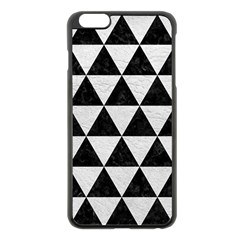 Triangle3 Black Marble & White Leather Apple Iphone 6 Plus/6s Plus Black Enamel Case