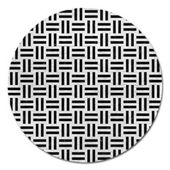 Woven1 Black Marble & White Leather Magnet 5  (round) by trendistuff