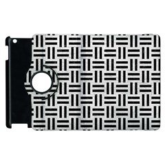Woven1 Black Marble & White Leather Apple Ipad 3/4 Flip 360 Case by trendistuff