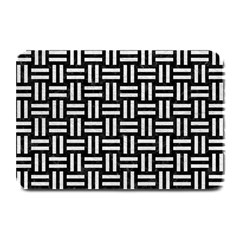 Woven1 Black Marble & White Leather (r) Plate Mats by trendistuff