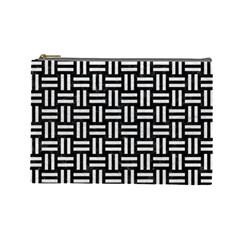 Woven1 Black Marble & White Leather (r) Cosmetic Bag (large)  by trendistuff