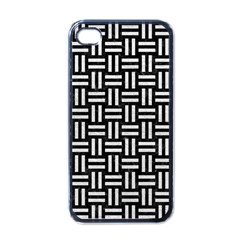 Woven1 Black Marble & White Leather (r) Apple Iphone 4 Case (black)