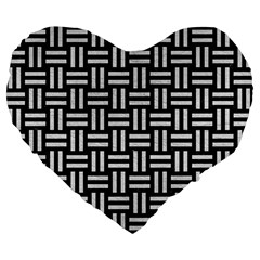 Woven1 Black Marble & White Leather (r) Large 19  Premium Flano Heart Shape Cushions by trendistuff