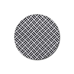 Woven2 Black Marble & White Leather Rubber Coaster (round)  by trendistuff