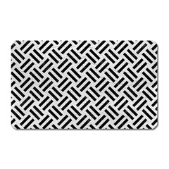 Woven2 Black Marble & White Leather Magnet (rectangular) by trendistuff