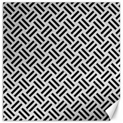 Woven2 Black Marble & White Leather Canvas 20  X 20   by trendistuff