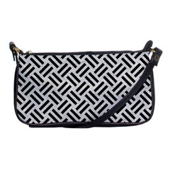 Woven2 Black Marble & White Leather Shoulder Clutch Bags by trendistuff
