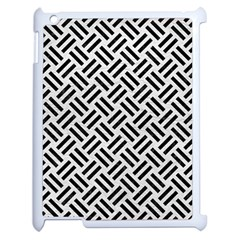 Woven2 Black Marble & White Leather Apple Ipad 2 Case (white) by trendistuff