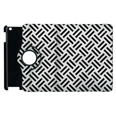 Woven2 Black Marble & White Leather Apple Ipad 3/4 Flip 360 Case by trendistuff