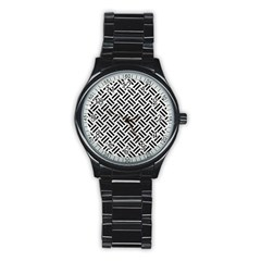 Woven2 Black Marble & White Leather Stainless Steel Round Watch by trendistuff